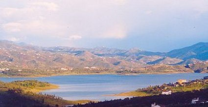 View over Lake Vinuela looking towards Canillas